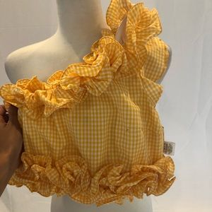 Lovers + Friends Tops - Designer Yellow + White Plaid One-Shoulder (XS)